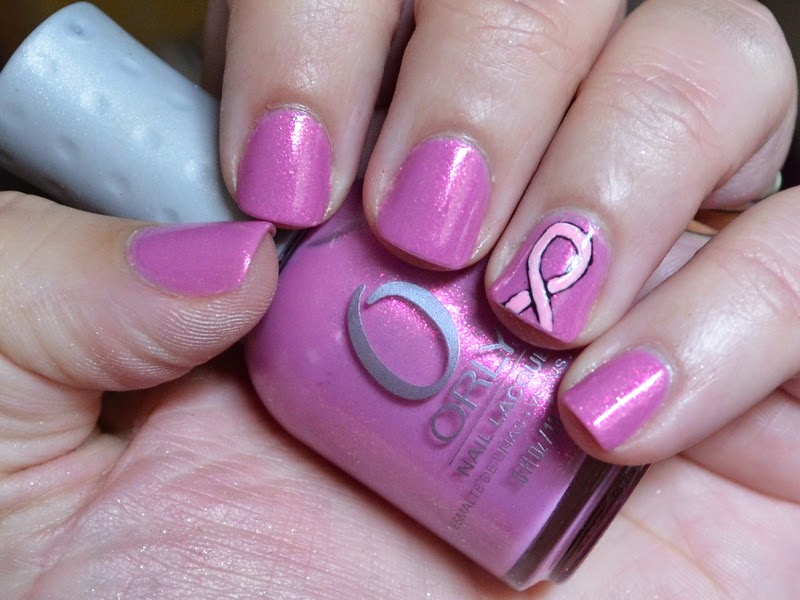 orly preamp, breast cancer awareness nail art, pink nail art