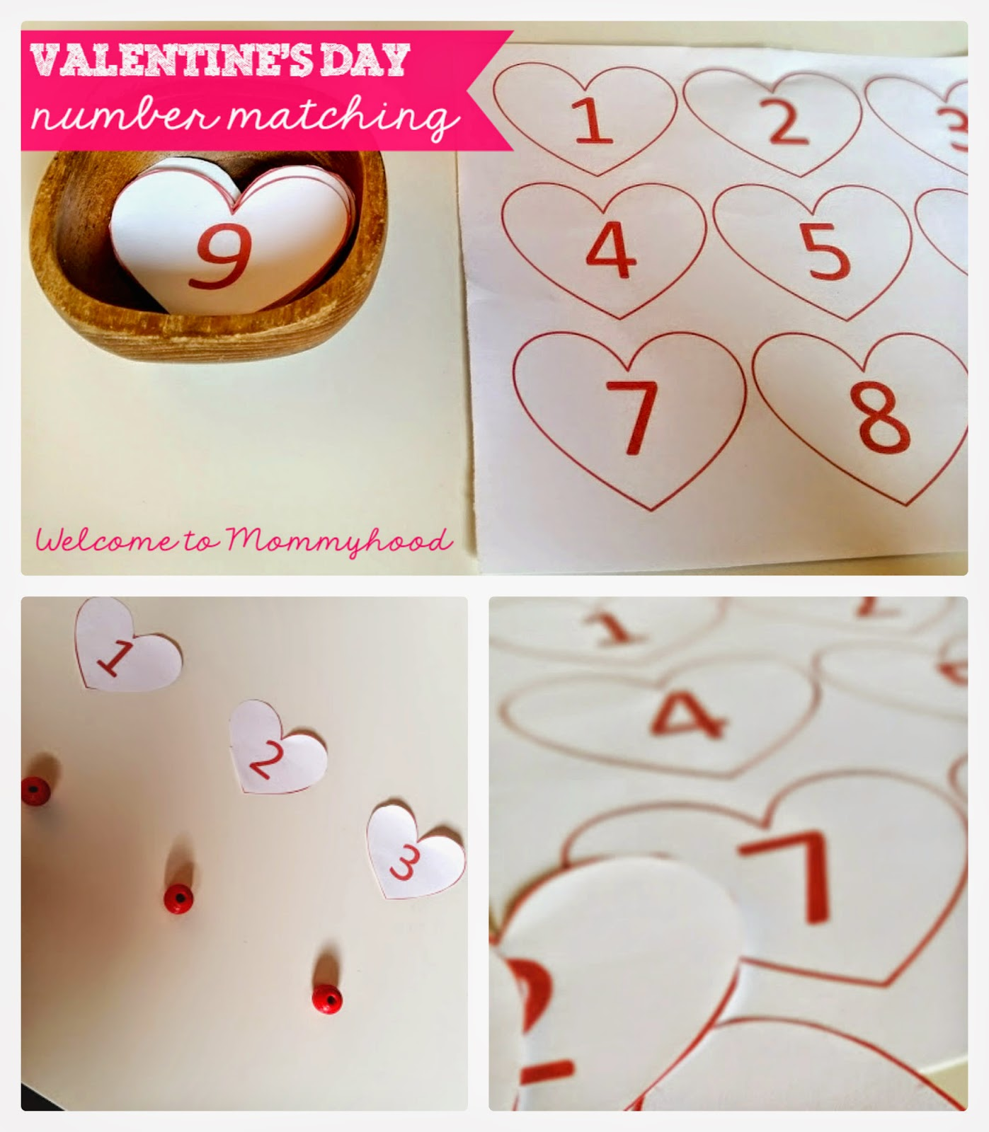 Valentine's Day Activities: free number matching printable {Welcome to Mommyhood} #montessori, #valentine'sdayactivities, #toddleractivities