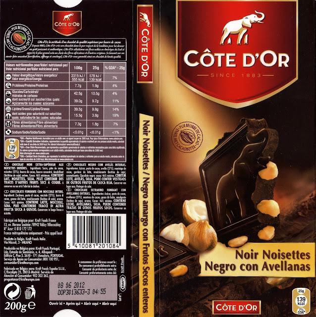 tablette de chocolat noir gourmand côte d'or noir noisettes