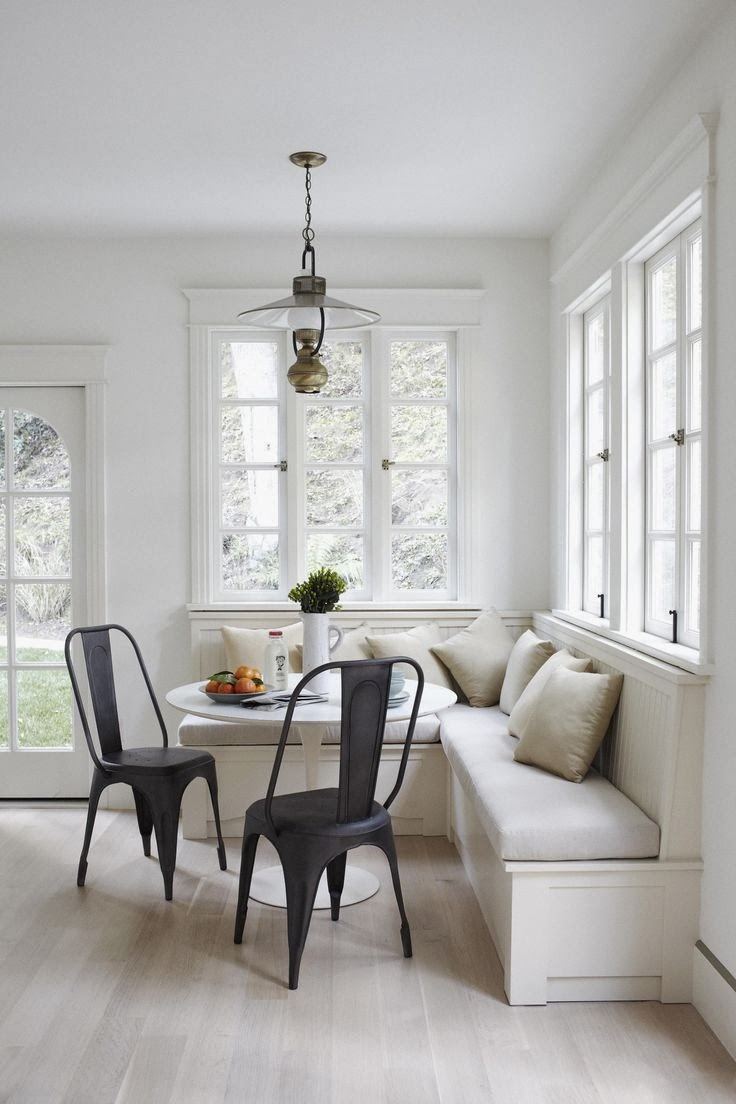 Black and white breakfast nook, tolix chairs