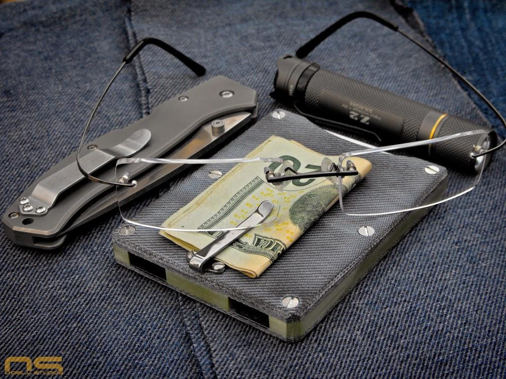 blue jean micarta wallet minimalist wallet