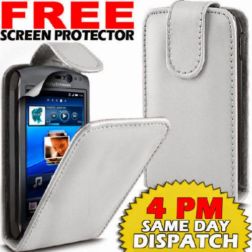 LEATHER FLIP SKIN CASE COVER AND FILM FOR SONY XPERIA NEO V