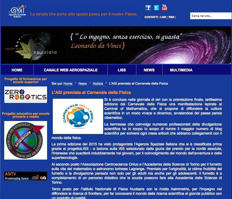 """La pagina """"spazio alle scuole"""" dell'ASI"""