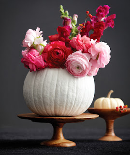 white pumpkin, ranuculas, snapdragons, fall decorating ideas