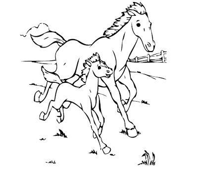 Mom and Baby Horse Coloring Pages