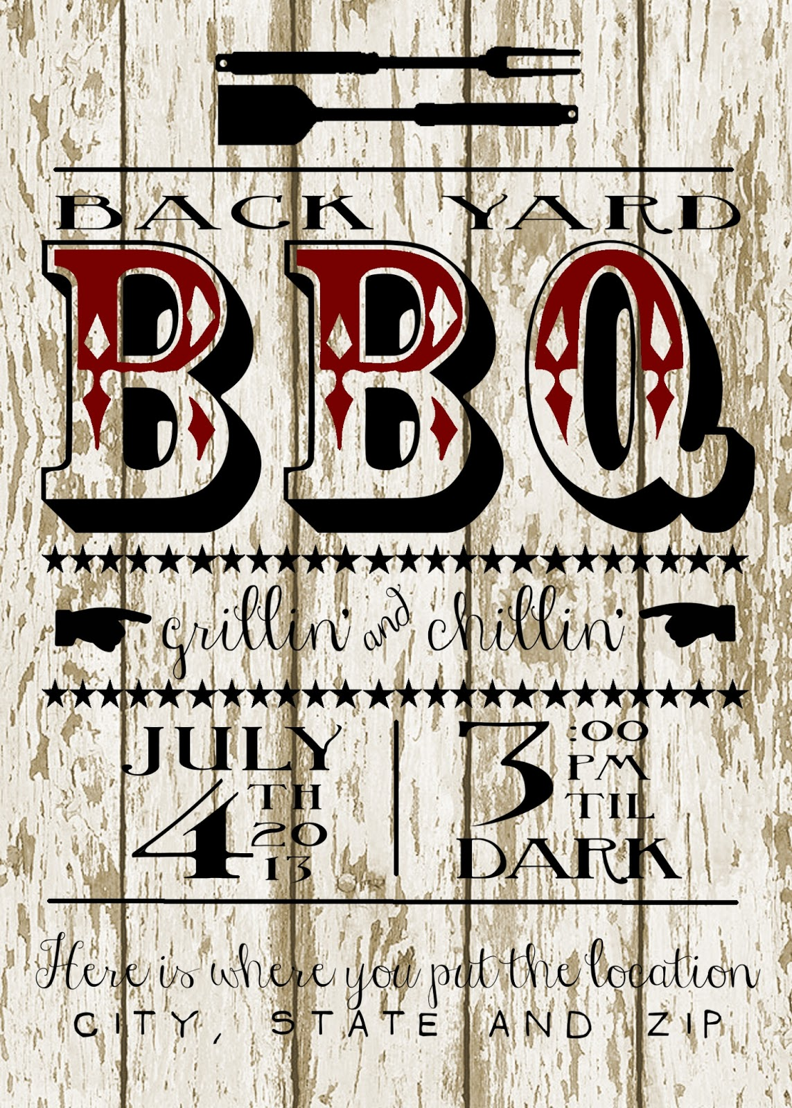 my 3 monsters back yard bbq party invitation free printable
