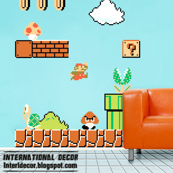 Cool Decorating Idea With Mario Sticker For Kids Room
