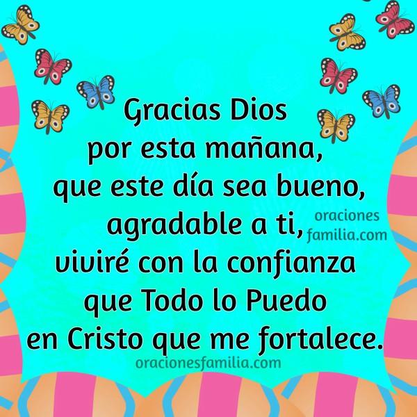 Oración de gracias a Dios por nuevo día, oraciones de la mañana, imagen cristiana con oracion por este buen día, Mery Bracho.