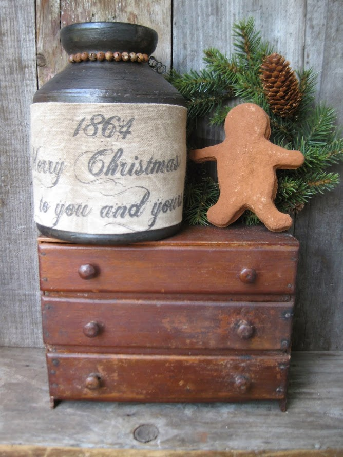 Christmas Crock and Tiny Chest of Drawers
