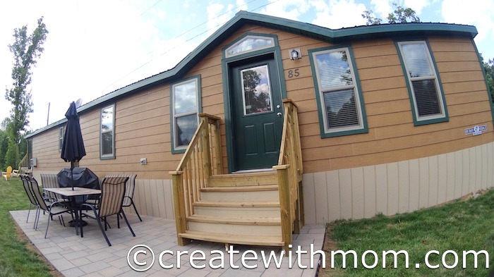 Create with mom carefree camping at the koa deluxe cabin for Camping cabins plans