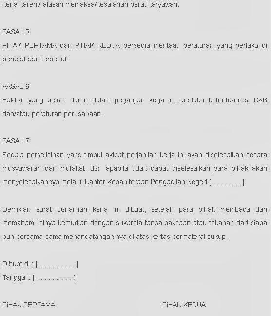 Contoh Surat Perjanjian Kontrak Kerja Terbaik