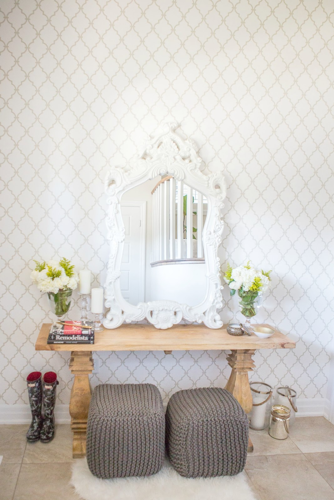 Foyer makeover with york wallcoverings ~ suburban faux pas