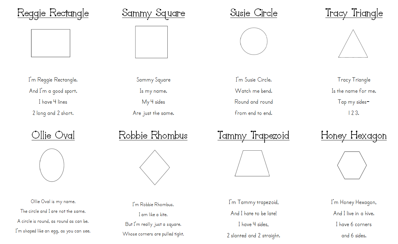 worksheet Kindergarten Shapes aloha kindergarten shape poems i just found these that did last year with my class they really helped kids remember their attributes the loved decorating the