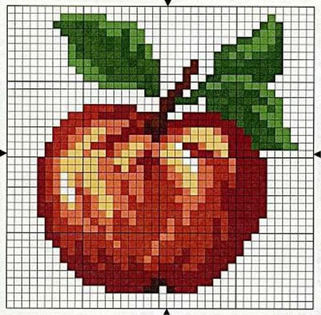 Схема вышивки крестом яблоки 56