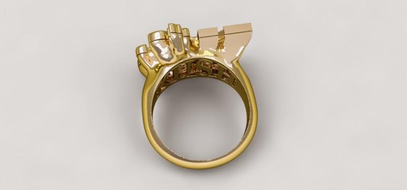 anillo oro amarillo render