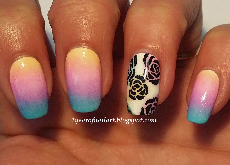 365+ days of nail art: Gradient and rose nail art with OPI Sheer Tints