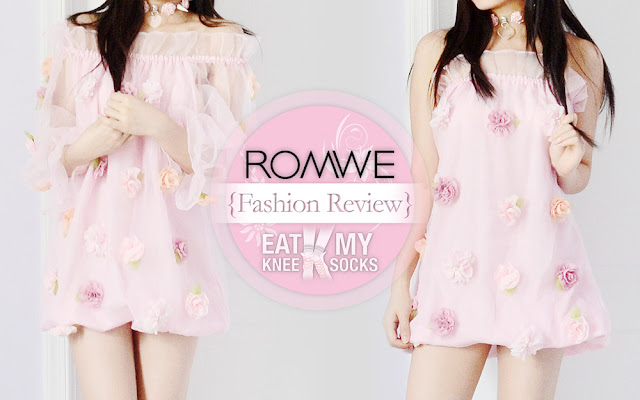 A review of the floral applique organza boat neck dress from Romwe, brought to you by Eat My Knee Socks/Mimchikimchi.
