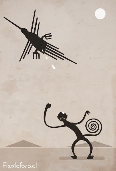 colibrí y mono de nazca interactúando en una ilustración