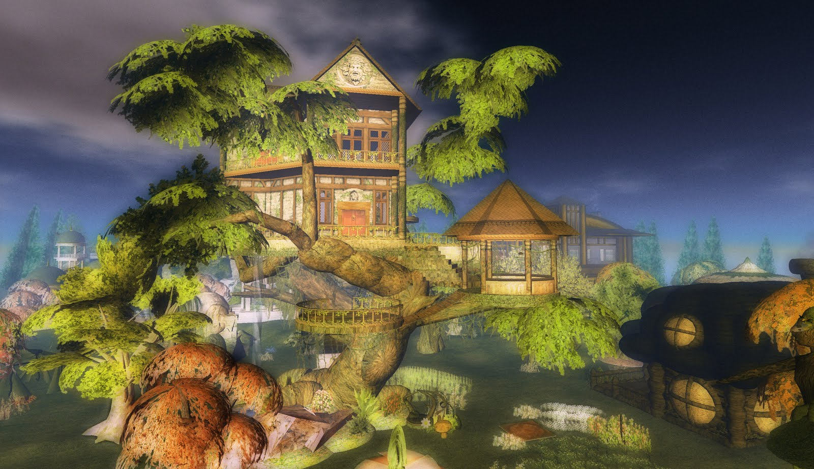 Pictures of tree houses and play houses from around the for Fantasy house plans