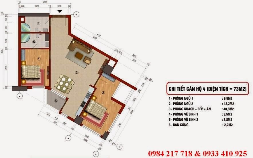 Chi tiết thiết kế căn hộ 73 m2 - chung cư CT1 Trung Văn