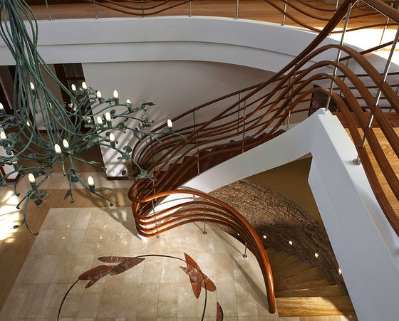 Luxury Wood Stair Railing For Concrete Staircase Design