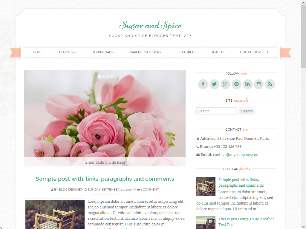 Sugar and Spice Responsive Blogger Template