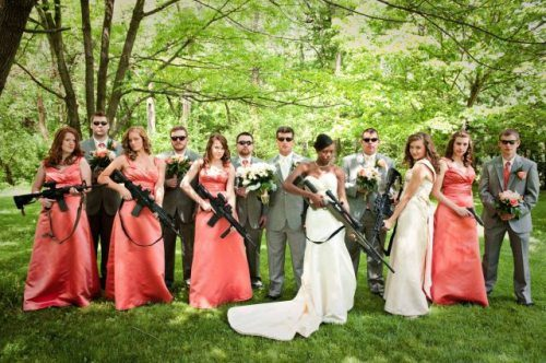 Bride and bridesmaids wedding guns.
