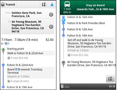 Google Transit Navigation (beta)