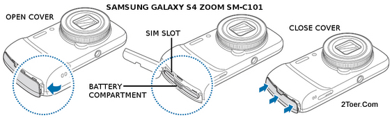 Samsung Galaxy S4 Zoom SM-C101 Open Attach Battery SIM Slot Cover