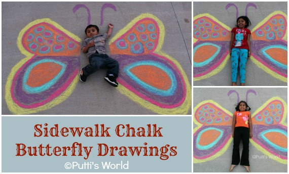 Chalk drawing Butterfly Kids Party Invites