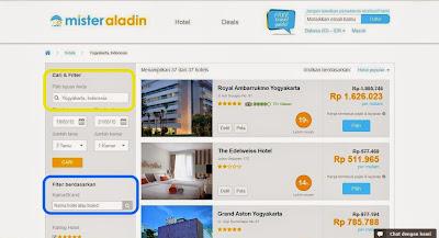 Filter Pemilihan Hotel pada Mister Aladin Website