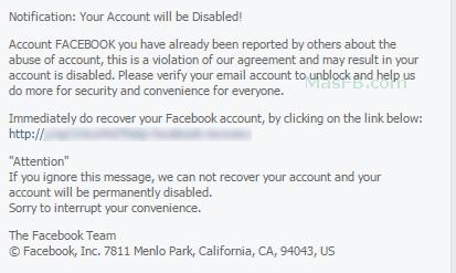 Amenaza, tu cuenta será deshabilitada - MasFB
