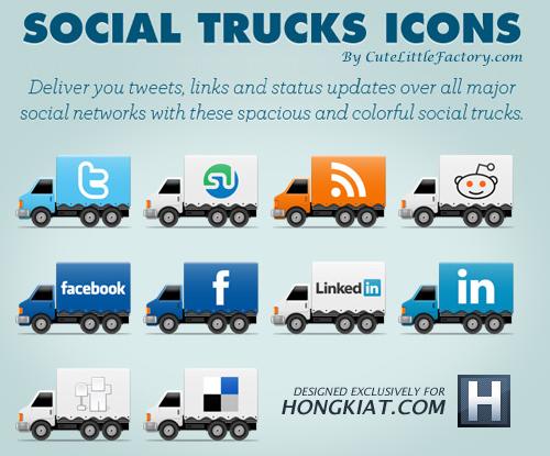 Freebie Social Truck Icon Set