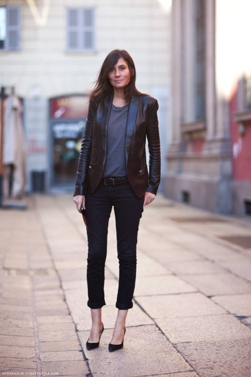 Emmanuel Alt Paris Street Style Leather Blazer Jacket