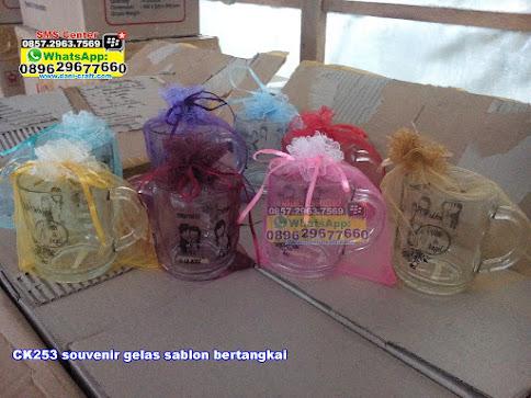 souvenir gelas sablon bertangkai jual
