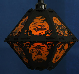 Paper pendant lantern - witches, rockets, and aliens in outer space by Bindlegrim