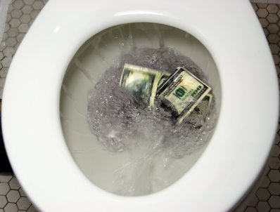flushed down the toilet