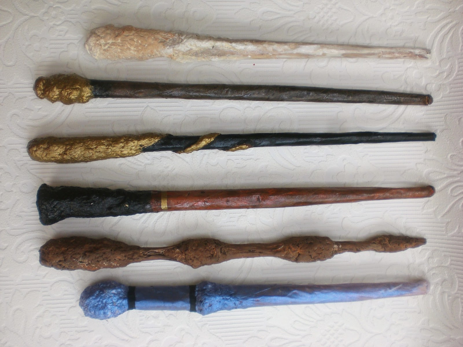 Warrior girl rowena murillo diy harry potter wands ii for Paper mache pulp