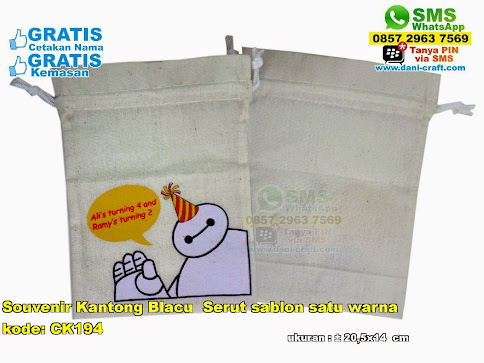Souvenir Kantong Blacu Serut Sablon Satu Warna