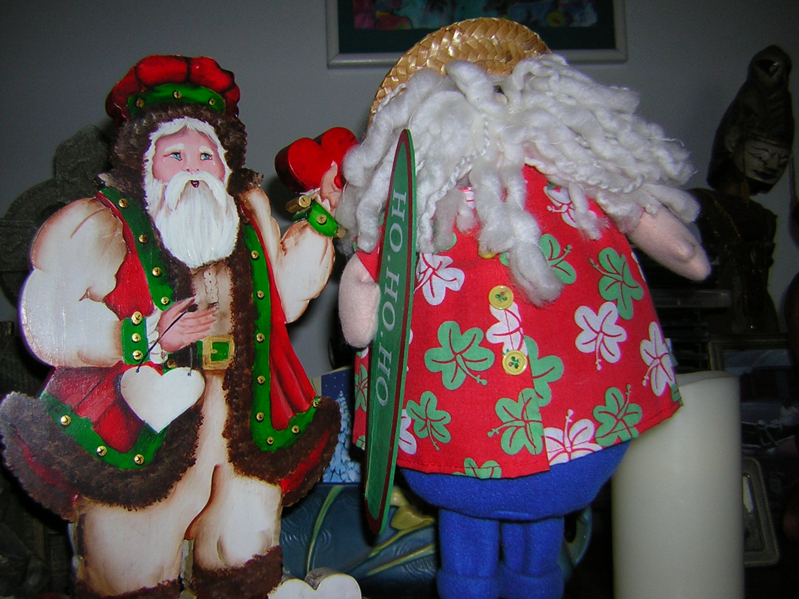 santa on left above is hand painted by my friend and this photo shows it more clearly than in the previous blog post photo and i have to smile when i see - When Is Christmas In 2015