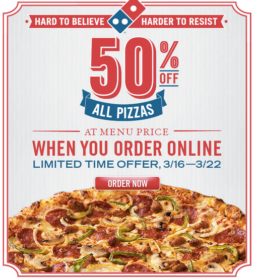 Domino's has large three-topping carryout pizzas for $ each, all day, every day. There is no coupon or promo code for the special, which previously was only good Mondays through Thursdays. To get the Domino's special, ask for it on the phone, or just place your order online.
