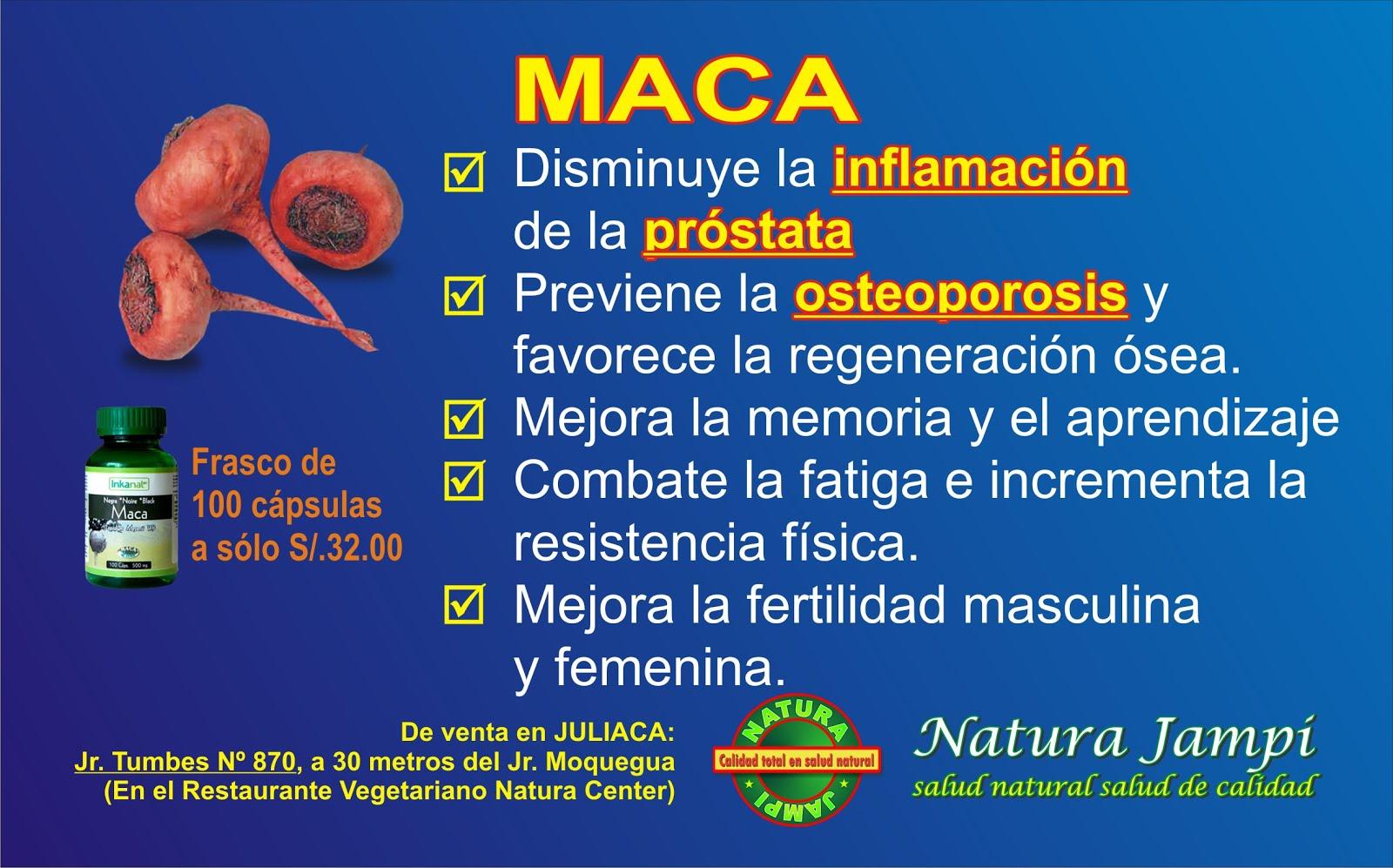La MACA ayuda a desinflamar la PRÓSTATA. Frasco de 100 cápsulas a sólo 32 soles