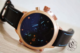 Jam Tangan GC Leather Triple Time Gold Ring Tali hitam