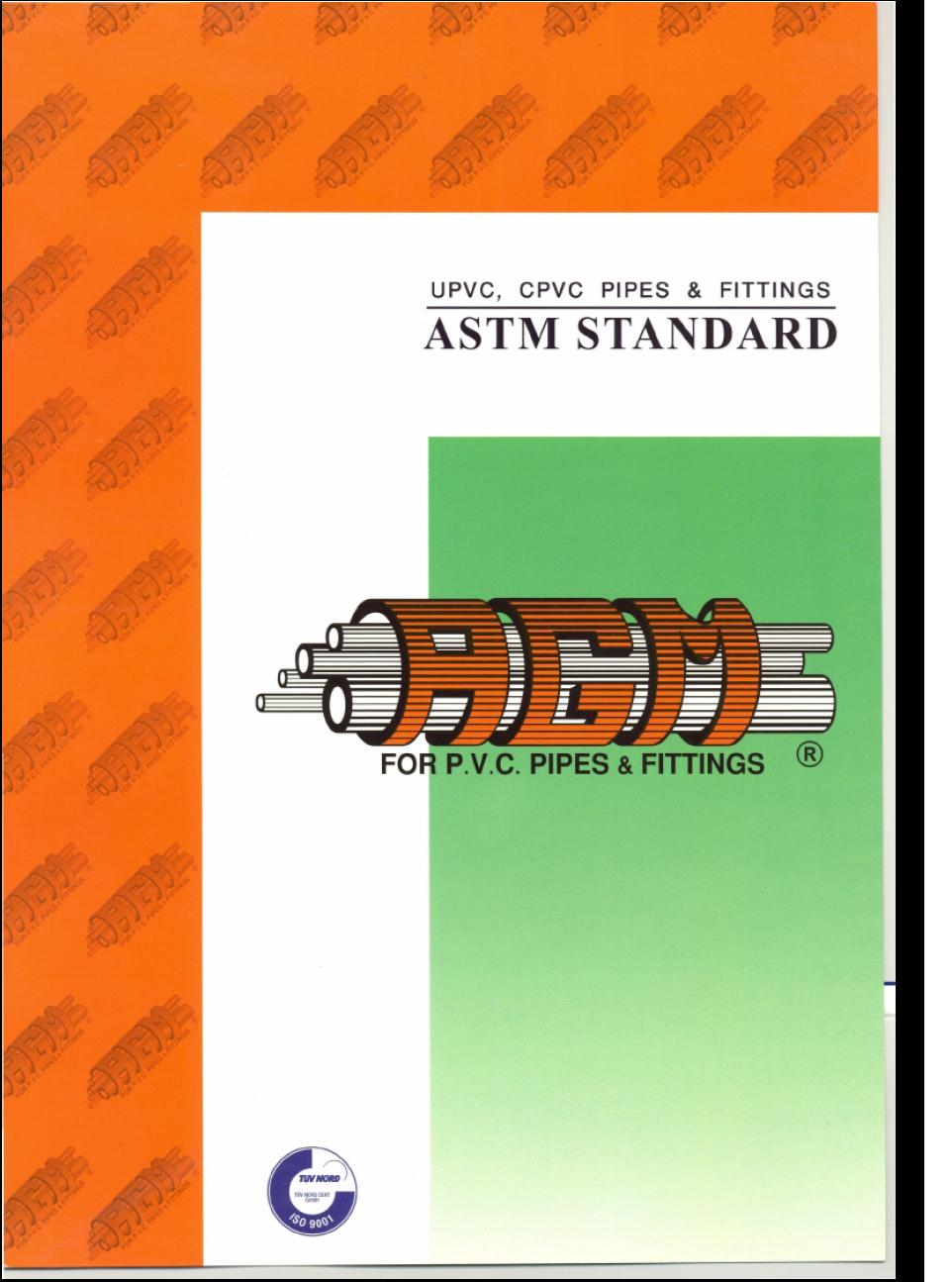 Upvc cpvc pipes fittings astm standard catalogue