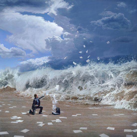 Joel Rea pintura hiper-realista surreal cães gigantes caindo céu Momento da verdade