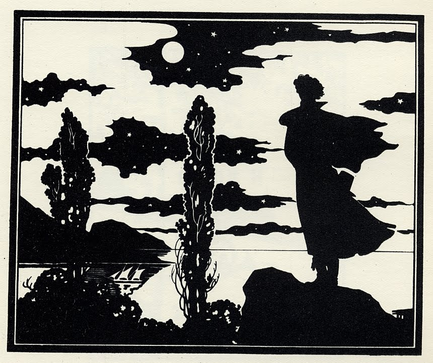 Art Nouveau silhouette of cloudy sky and lake and man on shore