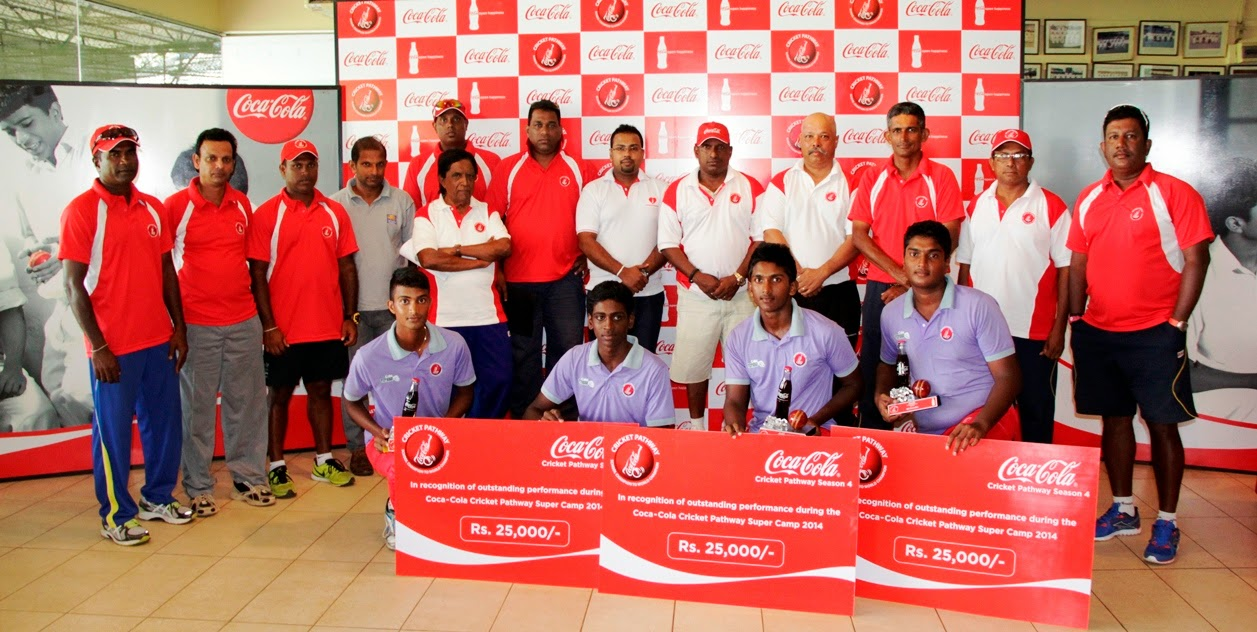 The Coca-Cola Cricket Pathways Super Camp award winners with Shantha Fernando, Marketing Operations Manager Sri Lanka and Maldives, Aravinda de Silva, - Administrator, Coca-Cola Cricket Pathways, Duminda Wickramasinghe - Junior Selection Committee Representative, Ravindra Pushpakumara - Specialised Fast Bowling Coach, Stan Nell - Australian Coach and Roger Wijesuriya, the Sri Lanka Under-19 Coach.