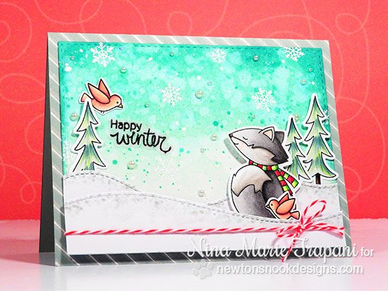 Happy Winter Card by Nina-Marie Trapani | Fox Hollow Stamp set by Newton's Nook Designs #newtonsnook