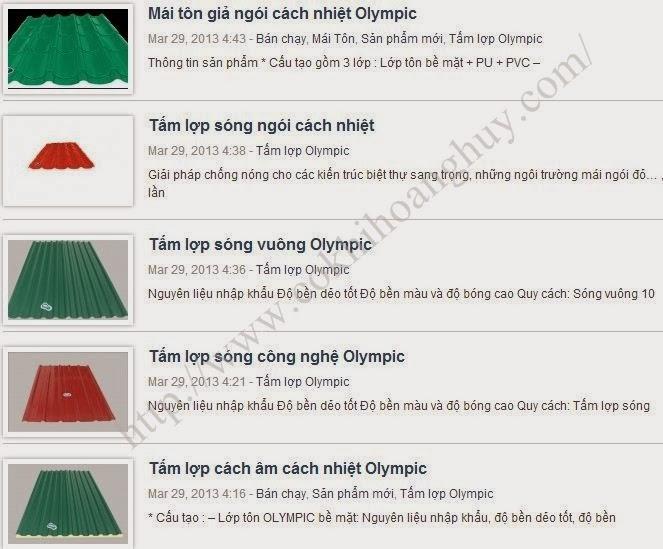 Mái tôn Olympic