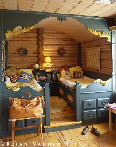 Scandinavian folk obsession scandinavian box beds for Log cabin style bunk beds